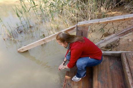 Visiting the Jordan River in 2012.