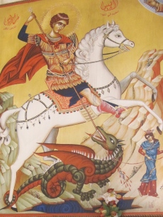 An icon of St. George at the Khidr church in al-Salt, a town northwest of Amman.