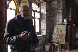 Fr. Frans during an interview about the siege and starvation of Homs.