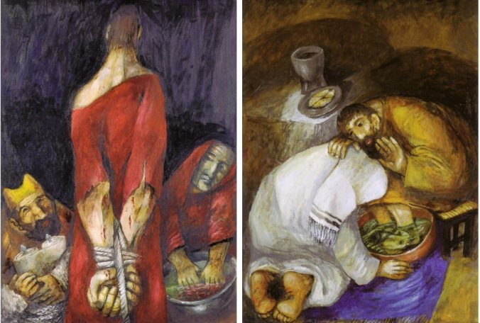 Surrender, and The Washing of Feet, by Sieger Koder