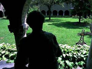 Sister Terese in the monastery courtyard.