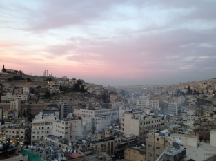 Downtown Amman at sunset.