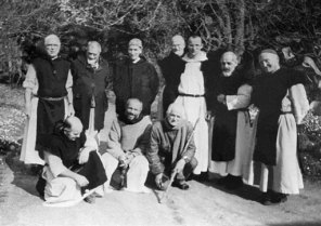 The monks with a couple guests