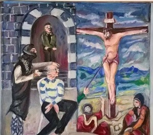 A powerful painting by artist Farid Jirjis depicting Frans' murder and Jesus' crucifixion.