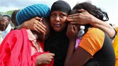 Mourners in Garissa, Kenya, after the Somali-based group, al-Shabab massacred 147 Christian students at a university there.